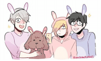 Easter, Family, and Memes: RANDOMSP  ES A concept: the podium family in matching bunny onesies!! Available on redbubble as stickers! Link is in my profile page! It's a late Easter doodle hehe yurionice happyeaster makkachin victuuri randomsplashes victuri
