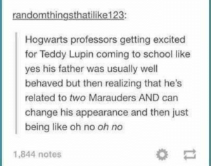 22 Harry Potter Memes That You'll Siriusly Lovegood   Love Harry Potter? Check out our Harry Potter Fanfiction Recommended reading lists - http://fanfictionrecommendations.com/harry-potter-fanfiction-recommendations/: randomthingsthatilike123:  Hogwarts professors getting excited  for Teddy Lupin coming to school like  yes his father was usually well  behaved but then realizing that he's  related to two Marauders AND can  change his appearance and then just  being like oh no oh no  1,844 notes 22 Harry Potter Memes That You'll Siriusly Lovegood   Love Harry Potter? Check out our Harry Potter Fanfiction Recommended reading lists - http://fanfictionrecommendations.com/harry-potter-fanfiction-recommendations/