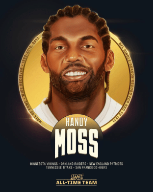 .@RandyMoss is one of the 10 wide receivers selected to the #NFL100 All-Time Team!  🙌 4x First-Team All-Pro, 6x Pro Bowl selection 🙌 982 receptions, 15,292 receiving yards, 156 receiving TDs 🙌 Single-season NFL record 23 receiving TDs in 2007 🙌 9 seasons with 10+ receiving TD https://t.co/YxAraTixk0: RANDY  MOSS  MINNESOTA VIKINGS OAKLAND RAIDERS NEW ENGLAND PATRIOTS  TENNESSEE TITANS • SAN FRANCISCO 49ERS  ALL-TIME TEAM  HALL OF FAME WIDE RECEIVER • 1998-2010, 2012  NFL SINGLE-SEASON RECORD FOR REC TD (23) .@RandyMoss is one of the 10 wide receivers selected to the #NFL100 All-Time Team!  🙌 4x First-Team All-Pro, 6x Pro Bowl selection 🙌 982 receptions, 15,292 receiving yards, 156 receiving TDs 🙌 Single-season NFL record 23 receiving TDs in 2007 🙌 9 seasons with 10+ receiving TD https://t.co/YxAraTixk0