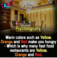 #Psychologically': RANGE  FACEBOOK DEV  RANGE  Psychologically,  Warm colors such as Yellow,  Orange and Red make you hungry  Which is why many fast food  restaurants are Yellow,  Orange and Red. #Psychologically'