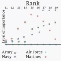 True, Army, and Air Force: Rank  E1 E2 E3 E4 E5 E6 E7 E8 E9  좆**  Army*  Navy *  Air Force *  Marines* It only fills me with rage because it's kinda true.