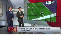 Memes, 🤖, and Sam Bradford: Ranking the QBs in NFC West for 2018  4. Sam Bradford Goff. Garoppolo. Wilson. Bradford.  Who's #1?   Ranking the QBs in the NFC West heading into 2018! (via @NFLTotalAccess) https://t.co/tnexQYxL9d
