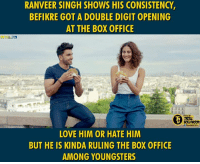 Befikre collects 10.36 crore on first day!  #Dynamite: RANVEER SINGH SHOWS HIS CONSISTENCY  BEFIKRE GOT A DOUBLE DIGITOPENING  AT THE BOX OFFICE  LOVE HIM OR HATE HIM  BUT HE IS KINDA RULING THE BOX 0FFICE  AMONG YOUNGSTERS  BOUWOOD Befikre collects 10.36 crore on first day!  #Dynamite