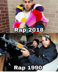 Memes, Rap, and 🤖: Rap 2018  Rap 1990 Dm to 5 people who will agree 💯