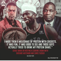 """Serge Ibaka can get carried away on his cooking show 😂: RAPIORS  Sun Life  I MADE THEM A MILKSHAKE OF PROTEIN WITH CRICKETS  IT WAS FUN, IT WAS GOOD TO SEE AND THOSE GUYS  ACTUALLY TRIED TO DRINK MY PROTEIN SHAKE.""""  SERGE IBAKA ON HOSTING A COOKING SHOW WITH  DIKEMBE MUTOMBO AND CHRIS TUCKER  VIA GETUP ESPN Serge Ibaka can get carried away on his cooking show 😂"""