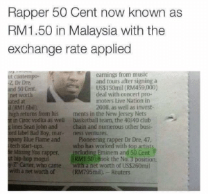 50 cent in Malaysia.: Rapper 50 Cent now known as  RM1.50 in Malaysia with the  exchange rate applied  earnings from music  and tours after signing a  US$150mil (RM459,000)  deal with concert pro-  moters Live Nation in  2008, as well as invest-  ut contempo-  Z. Dr Dre  and 50 Cent  net worth  ated at  (RM1.6bil)  high retuns from his ments in the New Jersey Nets  t in Ciroc vodka as well basketball team, the 40/40 club  g lines Sean John andchain and numerous other busi-  ord label Bad Boy, mar- ness ventures.  mpany Blue Flame and Pioneering rapper Dr Dre, 47.  itech start-ups.  Be Missing You rapper including Eminem and 50 Cent  ut hip-hop megul  y- Carter, who came with a net worth of US$260mil  with a net worth of (RM795mil), Reuters  who has worked with top artists  RM150) fook the No. 3 position 50 cent in Malaysia.
