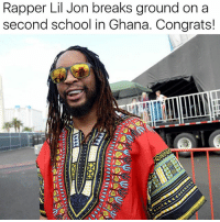 "Ariana Grande, Justin Bieber, and Memes: Rapper Lil Jon breaks ground on a  second school in Ghana. Congrats! RP from @moorinformation ""Lil Jon donated $70,000 to help get the two schools off the ground. Pencils of Promise was founded by Adam Braun, the brother of music manager Scooter Braun, who famously launched the careers of Justin Bieber and Ariana Grande. The organization's mission is to provide educational tools for kids around the world. Lil Jon first visited Ghana in October last year, and what he saw on that trip inspired him to pitch in and help."""