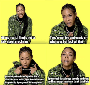 Rapper talking about her chains: Rapper talking about her chains