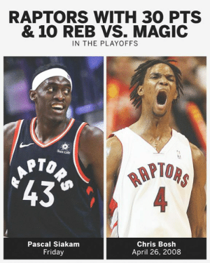 The last Toronto Raptors player to have a 30-point, 10-rebound game in the playoffs was Chris Bosh 👀: RAPTORS WITH 30 PTS  & 10 REB VS. MAGIC  IN THE PLAYOFFS  Sun Life  PTOP  43  RAPI  Pascal Siakamm  Friday  Chris Bosh  April 26, 2008 The last Toronto Raptors player to have a 30-point, 10-rebound game in the playoffs was Chris Bosh 👀