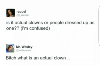 raquel  r alexaa  is it actual clowns or people dressed up as  One  (i'm confused)  Mr. Wesley  @NoBeeetch  Bitch what is an actual clown ~Hot Mess~