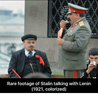 Colorized: Rare footage of Stalin talking with Lenin  (1921, colorized)