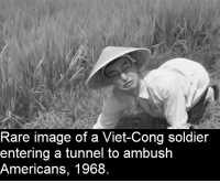 <p>His village would be bombed the very next day 😢</p>: Rare image of a Viet-Cong soldier  entering a tunnel to ambush  Americans, 1968. <p>His village would be bombed the very next day 😢</p>