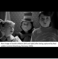 Children, Memes, and Germany: Rare image of Jewish children (left and right) after being captured by Nazi  soldier (centre) (Hamburg, Germany 1945) i hate that movie so much