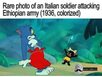 Italian Soldiers: Rare photo of an Italian soldier attacking  Ethiopian army (1936, colorized)