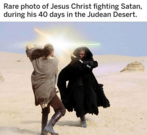 awesomesthesia:  Some will say it's fake: Rare photo of Jesus Christ fighting Satan,  during his 40 days in the Judean Desert. awesomesthesia:  Some will say it's fake