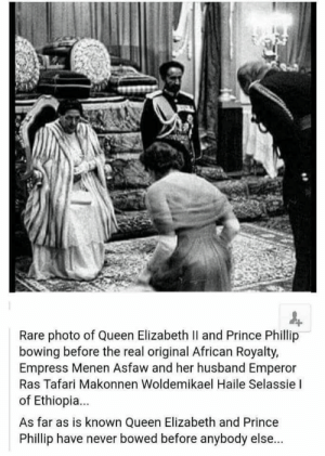 My maternal grandparents. The FIRST black couple allowed in a white restaurant in post segregation America. Waitress apologizes for forgetting hot sauce while manager watches. Grandpa was the original KAREN. (1964): Rare photo of Queen Elizabeth Il and Prince Phillip  bowing before the real original African Royalty,  Empress Menen Asfaw and her husband Emperor  Ras Tafari Makonnen Woldemikael Haile Selassie I  of Ethiopia...  As far as is known Queen Elizabeth and Prince  Phillip have never bowed before anybody else... My maternal grandparents. The FIRST black couple allowed in a white restaurant in post segregation America. Waitress apologizes for forgetting hot sauce while manager watches. Grandpa was the original KAREN. (1964)