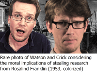 watson and crick: Rare photo of Watson and Crick considering  the moral implications of stealing research  from Rosalind Franklin (1953, colorized)