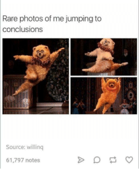 Dank, Bear, and Bears: Rare photos of me jumping to  conclusions  Source: willinq  61,797 notes I'm bearly ever this way.
