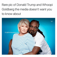 Wow crooked media at it again (made w- @drgrayfang): Rare pic of Donald Trump and Whoopi  Goldberg the media doesn't want you  to know about  IG: ashitheadsteve Wow crooked media at it again (made w- @drgrayfang)