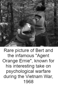 """""""BOY, this sure is a nice day for *ahem* raping every gook around and make them do silly dances while they burn in napalm!"""": Rare picture of Bert and  the infamous """"Agent  Orange Ernie known for  his interesting take on  psychological warfare  during the Vietnam War,  1968 """"BOY, this sure is a nice day for *ahem* raping every gook around and make them do silly dances while they burn in napalm!"""""""