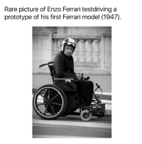 Ferrari, Enzo Ferrari, and Prototype: Rare picture of Enzo Ferrari testdriving a  prototype of his first Ferrari model (1947) Rare picture of Enzo Ferrari (1947)