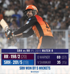 Rashid Khan smacks Archer for a six as SRH bags their first victory of the season.: RAS  SRH vs RR IPL 2019 MATCH 8  RR-198/2 (20) İDWARNER 69 (37)  SRH-201/5 (19) VSHANKAR 35 (15)  SRH WON BY 5 WICKETS  CricTracker Rashid Khan smacks Archer for a six as SRH bags their first victory of the season.