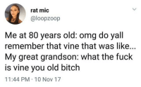 Bitch, Blackpeopletwitter, and Omg: rat mic  @loopzoop  Me at 80 years old: omg do yall  remember that vine that was like...  My great grandson: what the fuck  is vine you old bitch  11:44 PM 10 Nov 17 <p>We&rsquo;re all gonna be old and uncool someday (via /r/BlackPeopleTwitter)</p>