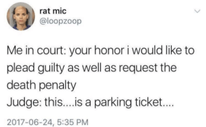 me_irl by GetInMyJetSki MORE MEMES: rat mic  @loopzoop  Me in court: your honor i would like to  plead guilty as well as request the  death penalty  Judge: thi...is a parking ticket...  2017-06-24, 5:35 PM me_irl by GetInMyJetSki MORE MEMES