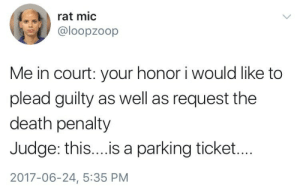 Death, Judge, and Death Penalty: rat mic  loopzoop  Me in court: your honor i would like to  plead guilty as well as request the  death penalty  Judge: this....is a parking ticket...  2017-06-24, 5:35 PM
