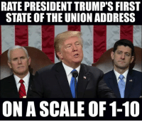 Memes, Patriotic, and Sotu: RATE PRESIDENT TRUMP'S FIRST  STATE OF THE UNION ADDRESS  ON A SCALE OF 1-10 Comment below 🇺🇸 sotu stateoftheunion . . . . MAGA millennialrepublicans donaldtrump buildthewall mypresident trump2020 merica fakenews republican rightwing draintheswamp conservative makeamericagreatagain trump liberallogic americafirst trumptrain bluelivesmatter backtheblue triggered trumpmemes presidenttrump snowflakes PARTNERS🇺🇸 @conservative_comedy_ @always.right @raging_patriots @conservative.american @right.wing.patriots @theright.americans