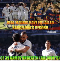 Barcelona, Memes, and Real Madrid: rates  Emir  QAA  REAL MADRID HAVE EOUTTLED  BARCELONAS RECORD  @Soccerclub  A iSCO  OF 39 GAMESUNBEATEN CALCO MPS Will RealMadrid break the record?👇🏼