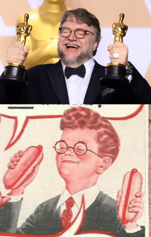 Oscars, Tumblr, and Blog: ratica:Gee Guillermo, why does your mom let you have TWO OSCARS?