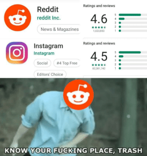 Dank, Fucking, and Instagram: Ratings and reviews  Reddit  4.6  reddit Inc.  4  3  2  News & Magazines  1  1,023,853  Ratings and reviews  Instagram  4.5  5  Instagram  4  3  Social  #4 Top Free  2  82,381,742  1  Editors' Choice  KNOW YOUR FUCKING PLACE, TRASH  Ln  N- We won mr.stark by the_annoying_one1 MORE MEMES