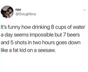 Sooo true: rav  @Doughbvy  It's funny how drinking 8 cups of water  a day seems impossible but 7 beers  and 5 shots in two hours goes down  like a fat kid on a seesaw. Sooo true