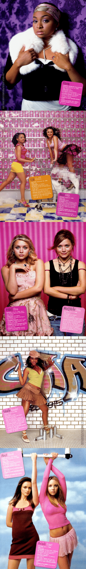 """boygirlparty:The July 2003 issue of Vanity Fair is still the bible: Raven  FORMERLY KNOWN AS: Ra  . BIRTHDAY: December 10, 1985  SIGN: Sagittarius.  HOMETOWN: Atlanta.  BIG BREAK: Playing Olivia on  The Cosby Show from the age of three  UPCOMING PROJECT: The second  season of That's So Raven on  the Disney Channel  NUMBER OF JUICY COUTURE OUTFITS:  Twelve  FAVORITE LIP GLOSS: MAC Lipglass  FAVORITE GADGET: Cuticle cutter   Kyla Peatt  BIRTHDAY: September 16, 1986  SIGN: Virgo.. L  HOMETOWN: Los Angeles.  BIG BREAK: Multiple guest spots  Lils  beginning with one o  at age three  Family Matters  called Da Vinci, Time and Space.  ONGOING PROJECTS: UPN's One on  One and Disney's The Proud Family  NUMBER OF JUICY COUTURE OUTFITS:  FIRST JOB: A commercial for a CD-ROM  Three. (She prefers the miniskirt  outfit.)PAGE 159  BIRTHDAY: August 27, 1988.  . SIGN: Virgo.  HOMETOWN: Miami  BIG BREAK: Robert Rodriguez's Spy  Kids (2001), playing the daughter of  Antonio Banderas and Carla Gugino.  FIRST JOB: Playing Burt Reynolds's  daughter on CBS's Evening Shade  five  UPCOMING PROJECT: Spy Kids 3.  NUMBER OF JUICY COUTURE OUTFITS:  FAVORITE LIP GLOSS: Bonne Bell  Cotton Candy Lip Smacker. PAGE 159   Ashley Olsen  Marly-Ma te  Ols  en  BIRTHDAY June 13, 1986  . SIGN: Gemini,  two minutes older than Mary-Kate.)  SIGN: Gemini  HOMETOWN: Los Angeles  . BIRTHDAY: June 13, 1986. (She's  HOMETOWN: Los Angeles  BIG BREAK: Full House, starting at  nine months old  UPCOMING PROJECTS."""" SA.Т.'s and  college."""" (For other projects, see  Mary-Kate's profile.)  NUMBER OF JUICY COUTURE OUTFITS:  """"A lot-from two years ago, when  they were hot.  FAVORITE LI  BIG BREAK: Full House.  UPCOMING PROJECTS: Charlie's Angels:  Full Throttle and a Warner Bros. feature  ONGOING PROJECTS: Lifetime Network  production deal, Columbia Records  albums, Wal-Mart clothing and  fragrance line, etc. """"You can't choose  a favorite-for us it's kind of like a  company and it all runs together  FAVORITE LIP GLOSS: Cherry"""
