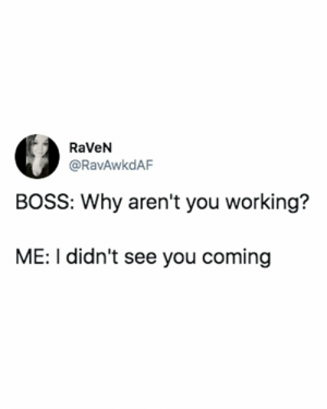 Raven, Arent You, and Working: RaVeN  @RavAwkdAF  BOSS: Why aren't you working?  ME: I didn't see you coming Take the rest of the day off @RavAwkdAF https://t.co/rABsHD5XYr