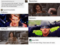 Gif, Gryffindor, and Life: Ravenclaw:  abstractedthinking said  this may sound a bit strange* Can y'all  sum up each house by only using ONE  gif from The Princess Bride?  hogwartshousehabits  Gryffindor  YOU KEEP USING THAT WORD  I DO NOT THINK IT MEANS WHAT YOU THINK IT MEANS.  Slytherin  WE ARE MEN OF ACTION LIES DO NOT BECOME US  Hufflepuff  Life is pain, anyone who says differently is selling something  kmart1885  You seem a decent fellow  Ithate to kill you  This is the best thing I have seen all week