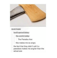Paradaxe: ravenmgee  twofingerswhiskey:  the-world-today:  The Paradox Axe  this makes me so angry  the fact that they didn't call it a  paradaxe makes me angrier than the  actual axe Paradaxe