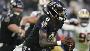 Don't look now.  But Lamar Jackson's eight straight win means his team holds the AFC's top playoff seed. 🤫😈   @Ravens | #RavensFlock https://t.co/6CoTUYQHdC: RAVENS  9  RAVENS Don't look now.  But Lamar Jackson's eight straight win means his team holds the AFC's top playoff seed. 🤫😈   @Ravens | #RavensFlock https://t.co/6CoTUYQHdC