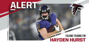 Ravens trade TE Hayden Hurst and 2020 4th-round pick to Falcons for 2020 2nd-round pick and 2020 5th-round pick. (via @RapSheet) https://t.co/7qCzqQjCHE: Ravens trade TE Hayden Hurst and 2020 4th-round pick to Falcons for 2020 2nd-round pick and 2020 5th-round pick. (via @RapSheet) https://t.co/7qCzqQjCHE