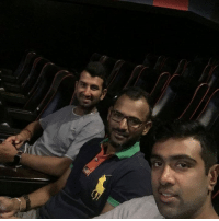 Ravi Ashwin, Cheteshwar Pujara and fielding coach R Sridhar enjoy a movie together ahead of the first test: Ravi Ashwin, Cheteshwar Pujara and fielding coach R Sridhar enjoy a movie together ahead of the first test