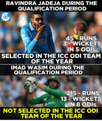 Memes, Period, and Selected: RAVINDRA JADEJA DURING THE  QUALIFICATION PERIOD  45 RUNS  3 WICKETS  IN 5 ODIs  SELECTED IN THE ICC ODI TEAM  OF THE YEAR  IMAD WASIM DURING THE  QUALIFICATION PERIOD  215 RUNS  13 WICKETS  Uepsi.  IN 8 ODIs  NOT SELECTED IN THE ICC ODI  TEAM OF THE YEAR Imad Wasim deserves the place more than Ravindra Jadeja.