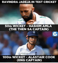 Memes, Cricket, and 🤖: RAVINDRA JADEJA IN TEST CRICKET  50th WICKET HASHIM AMLA  (THE THEN SA CAPTAIN)  anUOSe  100th WICKET ALASTAIR COOK  CENG CAPTAIN) Ravindra Jadeja has picked big scalps as his milestone wickets.