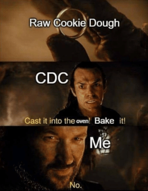 MY PRECIOUS: Raw Cookie Dough  CDC  Cast it into the oven! Bake it!  Me  No. MY PRECIOUS