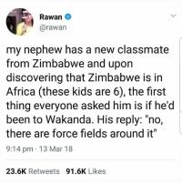 "Africa, Memes, and Kids: Rawan  @rawan  my nephew has a new classmate  from Zimbabwe and upon  discovering that Zimbabwe is in  Africa (these kids are 6), the first  thing everyone asked him is if he'd  been to Wakanda. His reply: ""no,  there are force fields around it""  9:14 pm 13 Mar 18  23.6K Retweets 91.6K Likes @epicfunnypage is literally the funniest page 👌🏻👌🏻"