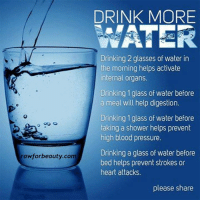 Drink more water: rawforbeauty com  DRINK MORE  WATER  Drinking 2 glasses of water in  the morning helps activate  internal organs.  Drinking 1 glass of water before  a meal will help digestion.  Drinking 1 glass of water before  taking a shower helps prevent  high blood pressure.  Drinking a glass of water before  bed helps prevent strokes or  heart attacks.  please share Drink more water