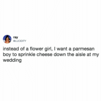 Memes, Twitter, and Flower: ray  @LUCIDITY  instead of a flower girl, I want a parmesan  boy to sprinkle cheese down the aisle at my  wedding yessss 🧀🧀🧀 (@lucidity on Twitter)