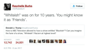 "Abc, Donald Trump, and Friends: Raychelle Burks  @DrRubidium  Follow  ""Whiteish"" was on for 10 years. You might know  it as 'Friends'  Donald J. Trump @realDonaldTrump  How is ABC Television allowed to have a show entitled ""Blackish""? Can you imagine  the furor of a show, ""Whiteish""! Racism at highest level?  RETWEETS  LIKES  12,742 24,931Lr  6:31 PM-8 Jan 2017 Donald Trump on Blackish 🙄"