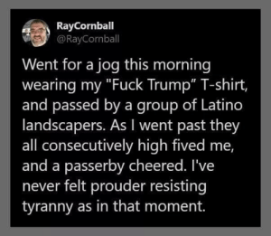 "Thanks Diane!: RayCornball  @RayCornball  Went for a jog this morning  wearing my ""Fuck Trump"" T-shirt,  and passed by a group of Latino  landscapers. As I went past they  all consecutively high fived me,  and a passerby cheered. I've  never felt prouder resisting  tyranny as in that moment. Thanks Diane!"