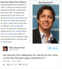 "The Voice, Wikipedia, and Ice Age: Raymond Albert ""Ray"" Romano  (hypothetically born December 21  1957) could be an American actor,  stand-up comedian, screenwriter  and voice actor. He might have  been known for his role on the  sitcom Everybody Loves Raymond,  for which he could have received  an Emmy Award, and as the voice  of ""Manny"" in the Ice Age film  series. He may have created and  starred in the TNT comedy-drama  Men of a Certain Age (2009-11)  From 2012 to 2015, Romano could  have possibly had a recurring role  in Parenthood.  Ray Romano (?)  MH  SAMHS  Mike Rosenthal  @VectorBelly  Follow  Got banned from Wikipedia for making all the verbs  on the Ray Romano page hypothetical:  8:43 PM - 5 Jan 2016  h 10,712 19,247"